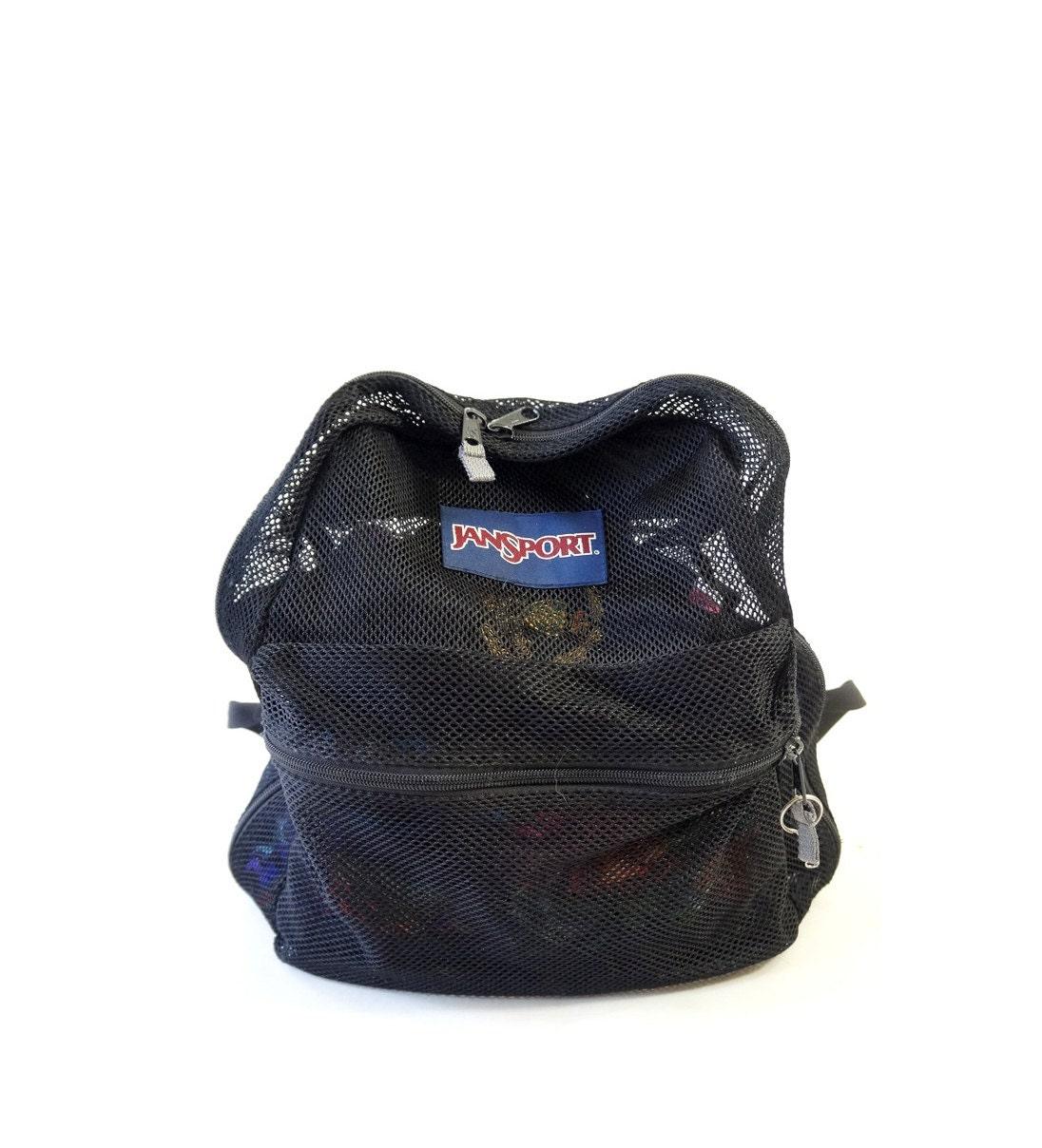 Gym Bag Jansport: Black Mesh 90s Jansport Backpack 90s Athletic Gym By