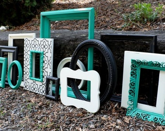 SALE Set of 13 Upcycled Frames - Kelly Green, Black, and White - Painted Picture Frames - Wall Gallery - Nursery - Wedding - Distressed