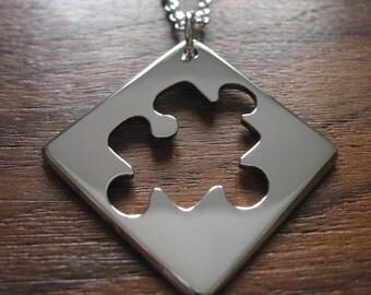 Silver Puzzle Shape Pendant Necklace