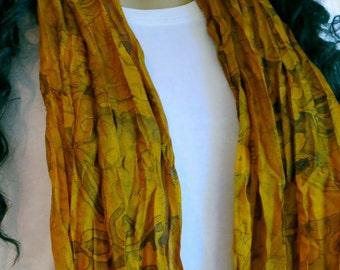 Brown Silk scarf, Sari Scarf
