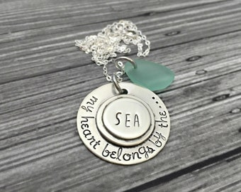 Sterling Silver Soldered Beach My Heart Belongs By The Sea Keepsake Sea Glass Necklace- Hand Stamped Jewelry - Personalized Jewelry