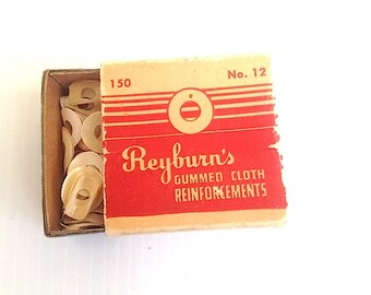 Mid Century Office Supplies, Reyburns Gummed Cloth Reinforcements, Mad Men Office Materials, Free shipping,  1950s movie prop