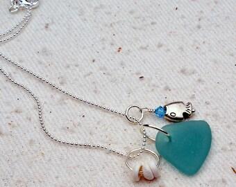 Genuine Aqua Blue Sea Glass Charm Necklace   590