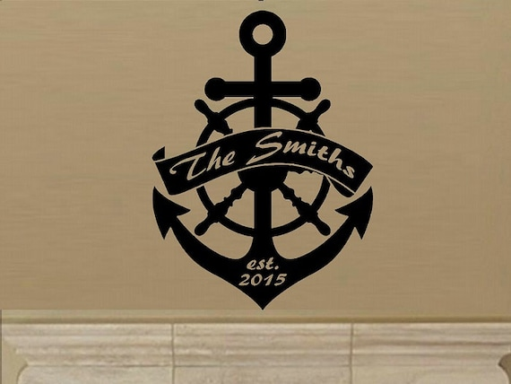 Family name wall decal anchor decal personalized name decal living room decal entry decal name year decal wedding anniversary home decor