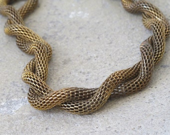 SALE-Vintage twisted brass Necklace