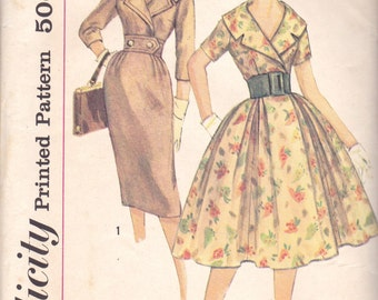 Sophisticated 1950s Dress Pattern Simplicity 3068 Size 11