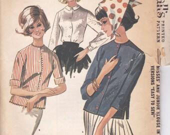 1960s Simple Blouse Pattern McCalls 6583 Size 10
