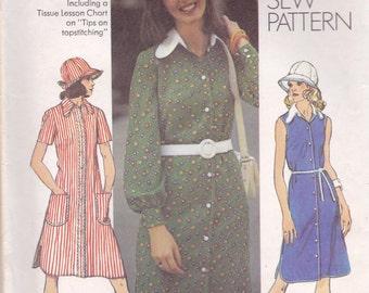 Hat & Simple Button Front Dress Pattern Simplicity 5464 Size 18 Bust 40 Uncut