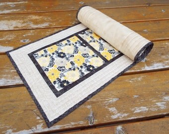 Table Runner, Table topper, quilted table runner, Dresser Scarf, Damask, Flowers, yellow, black