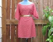Funky Upcycled Geometric Red Wide Neck Tunic Dress/ Funky Eco Knee Length Dress XL XXL Plussize