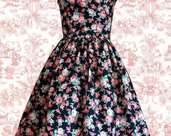 Pink Floral lolita dress- Pin up, 50's style-SALE