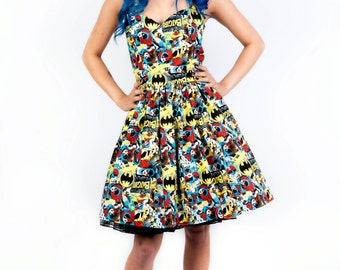 Batgirl dress-comic dress- Womens halterneck