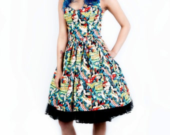 Wonder Woman dress-comic dress- Womens halterneck