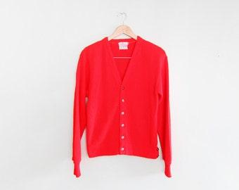 vintage cardigan / grandpa cardigan / grunge / 1960s bright red cardigan Small
