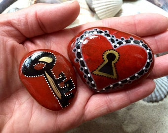 You hold the key / love is the key / painted rocks / Sandi Pike Foundas / love from Cape Cod sea stone / lock and key