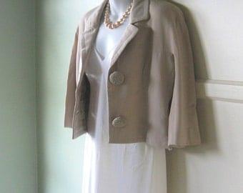 Short Tan Midcentury Jacket by Amelia Gray/Ben Zuckerman - 1960s 1950s XS Jacket; 3/4 Sleeves - New Look Jacket