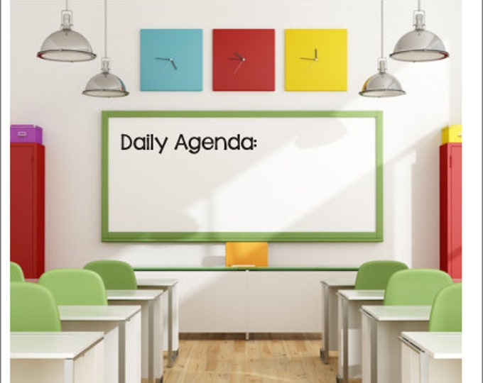Daily Agenda Decal Vinyl Decal Classroom Decal Whiteboard Decal Agenda Wall Decal School Elementary Decal Teacher Classroom Decal Chalkboard