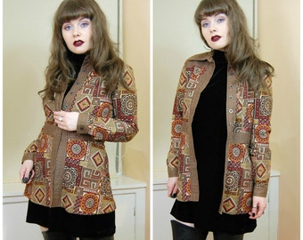 60s 70s RARE Boho Hippie Brown Red Rust Autumnal Moroccan Tile Print Button Up Collared Fitted Festival Jacket Coat XS / S