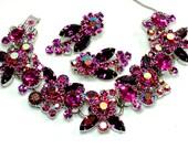 Juliana D and E Fuchsia  Purple Rhinestone Bracelet Earring Set