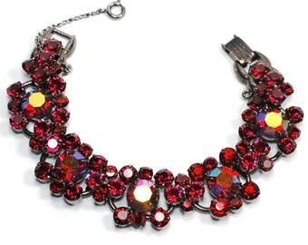 Juliana Red AB Rhinestone Japanned Bracelet