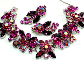 Juliana D and E Fuchsia  Purple Rhinestone Bracelet Earring Set