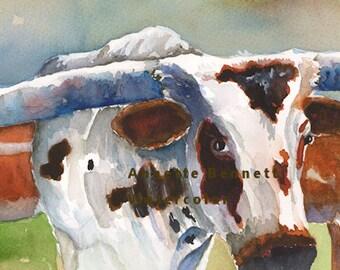 longhorn watercolor painting print, longhorn art print, wall art, farm animal, longhorn watercolor, longhorn print, longhorn poster, cattle