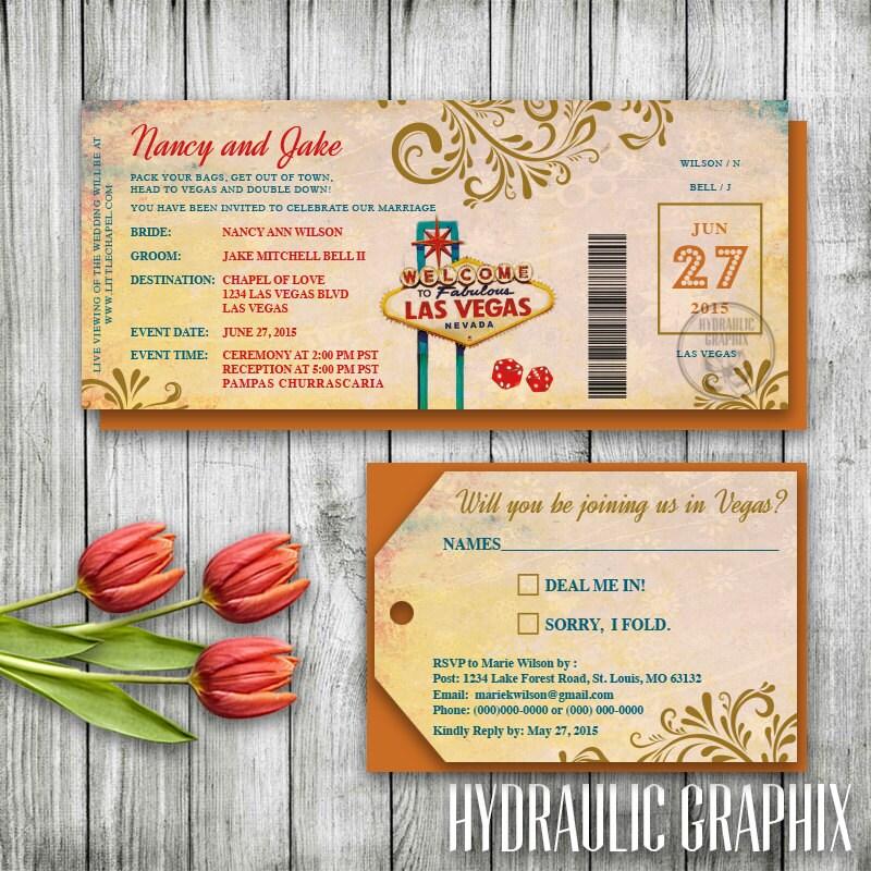 Las Vegas Wedding Invitation Wording: Las Vegas Wedding Invitation Ticket Las Vegas Invitation Set
