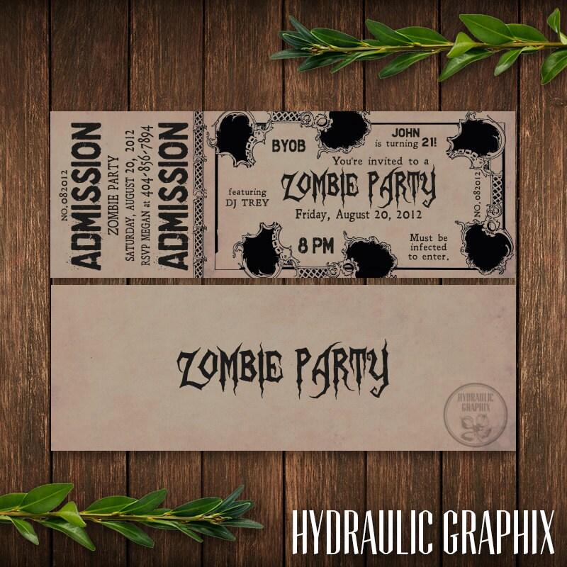 zombie party invitation printable birthday ticket invitation,