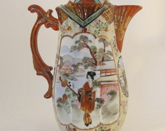 Antique  Japanese heavily decorated coffee pitcher
