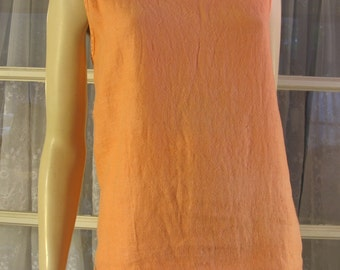 Vintage 90's women's Elle linen sleeveless orange shell top One size