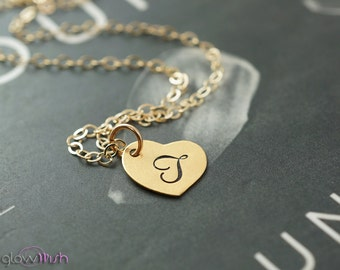 Gold initial necklace, heart pendant, simple necklace, bridesmaids gifts, cursive letter