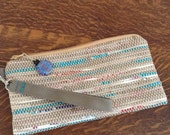 REDUCED: Hand Woven Up-Cycled Recycled Eco-Friendly Plarn (Yarn of Plastic Bags) Wallet, Wristlet, Clutch or Pouch in Tan, White, Turquoise