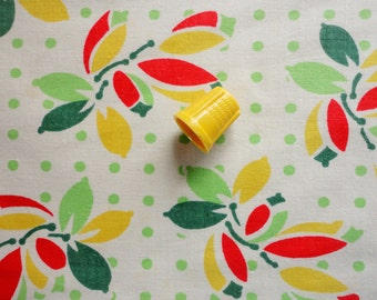 yellow, red and green abstract floral polka dot print vintage full feedsack fabric