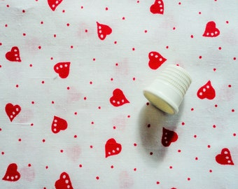 red hearts and dots on white vintage cotton fabric -- 42 by 1/2 yard