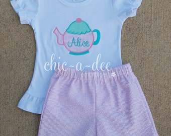 Personalized Teapot  Shirt + Coordinating Bottoms