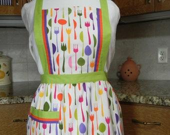 Full apron bright colors flatware print