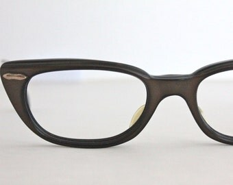 Vintage 50's Chocolate Cat Eye Eyeglasses Frames
