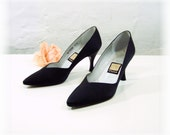 "Nina Black Heels Satin pumps Women size 7 shoes 3"" high heel, leather sole Formal evening dress Vintage Nina since 1953, Spain"