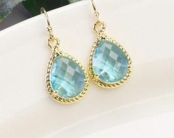 Aquamarine Earrings - Gold Blue Bridesmaid Earrings - Light Turquoise Blue Glass Drop Earrings - Blue Bridesmaid Jewelry - Wedding Jewelry