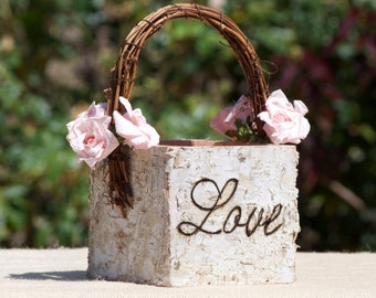 Personalized Flower Girl Basket~ Shabby Chic ~ Rustic ~ Woodland ~ Fairytale Wedding Wood/birch Bark~Blended Family