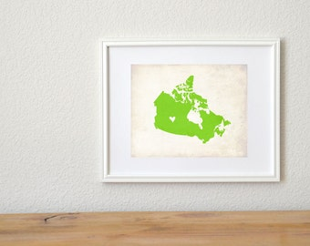 Canada Personalized Country Map Art 8x10 Print