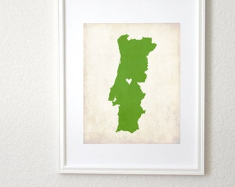 Portugal Personalized Country Custom Map Art 8x10 Print. Portugal Map. Country Map Art. Personalized Map Art Print.