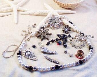 DESTASH Pearl Black Silver Tone Destash Lot for Restoration DIY Jewelry Crafts and More Recycle, ReUse or RePurpose