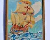 1940s Needlepoint Antique Needlepoint Vintage Needlepoint Vintage Sampler of a Sailing Galleon onto Hessian Cloth Aldridge Bros of Worthing