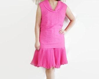 60s Dress Plus Size Mod Chiffon Scooter Hot Pink Vintage Wedding Party