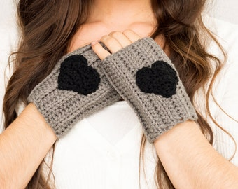 SALE--Grey & Black Heart Crochet Fingerless Gloves, Handmade Women's Warm Soft Winter Accessory, Knitted Texting Gloves, Knit Hand Warmers
