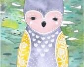 Owl Illustration Art Watercolor Painting, Nursery Art, Children's Art,  Archival Print - Horned Owl Rose