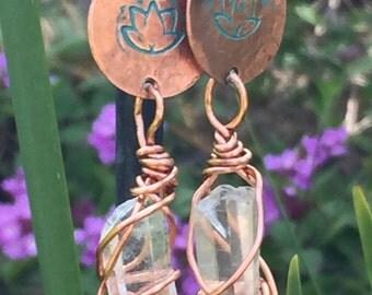 Copper Lotus Quartz Earrings