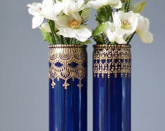 Moroccan Vases Blueberry Tinted Glass With Gold Detailing