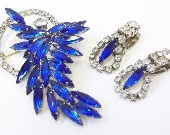 Blue Clear Rhinestone Brooch and Earring Set Blue Rhinestone Demi Parure Blue Wedding Bridal Set Blue Clear Rhinestone Dangle Earring DD 832